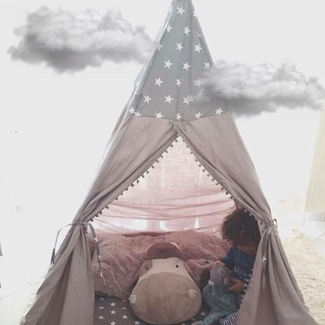 In love with his new #teepeelicious #teepee #christmasgift #santasletter #christmastime #Santa #ontheclouds #handmade #nurserydecor #kidsinteriors #pompom #grey #tipi #madeingreece #madewithlove #happykids