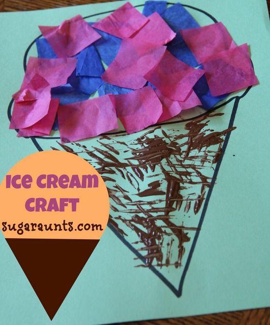 Ice Cream craft | July is national Ice Cream Month | The Sugar Aunts #kidsactivities #icecream #painting