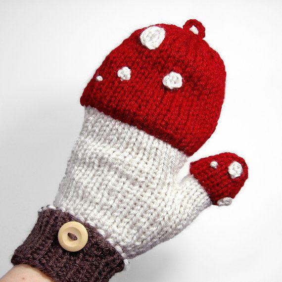 Mushroom Mittens that Convert to Fingerless Gloves