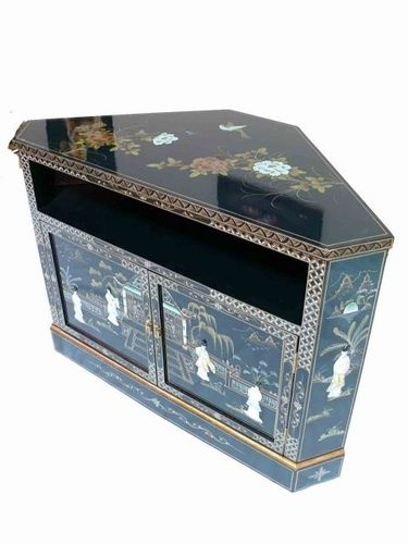 Black Lacquered With Mother Of Pearl Corner TV Cabinet Oriental Furniture | eBay