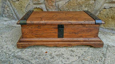 Large keepsake box in rustic style reclaimed solid