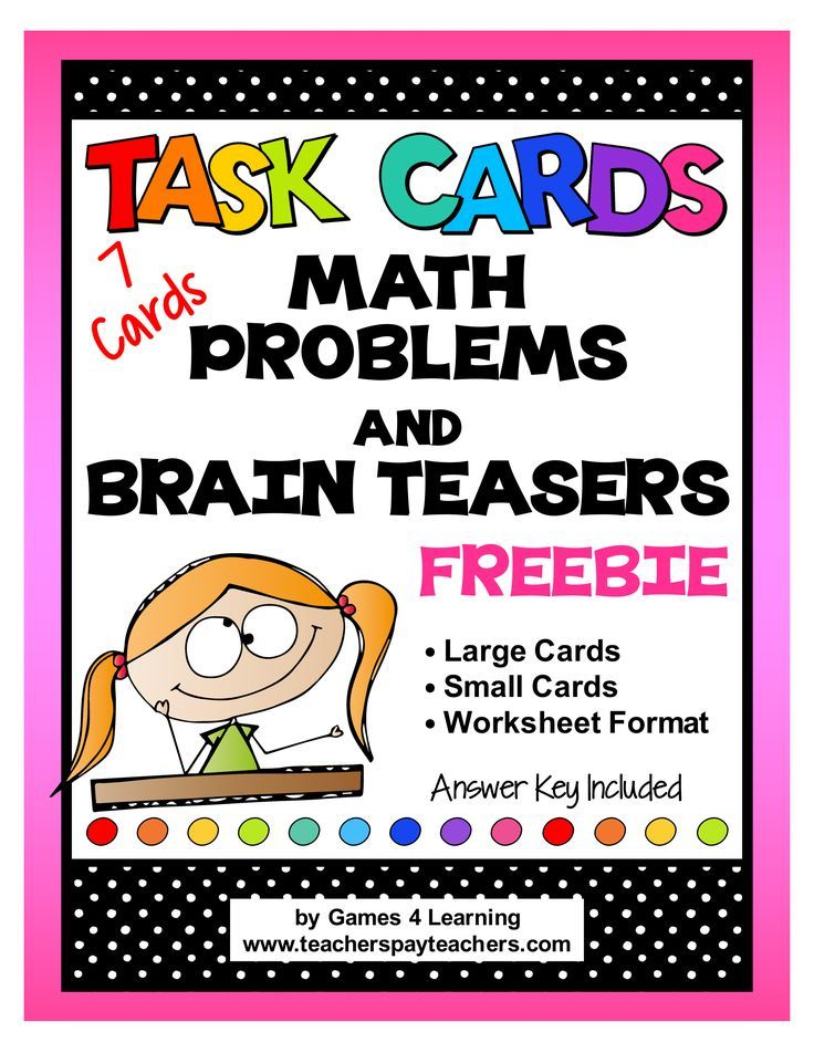 FREEBIE: Math Problems and Math Brain Teasers Task Cards with Answer Key and Recording Sheet