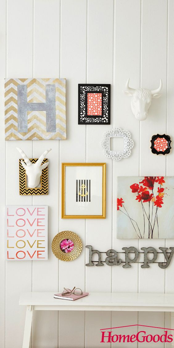 Gallery walls are hugely popular in home decor but how you create yours is very personal. Get inspired and get hanging! Find your inspiration at your local HomeGoods store.