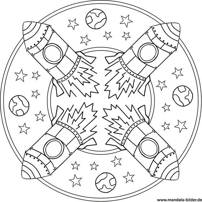 Mandala Rakete Ausmalbilder Zum Ausdrucken Mandalas Kinder Weltraum Ausmalbilder