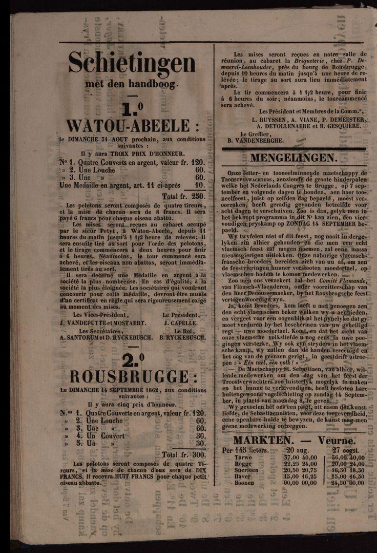 De Dorpsbode van Rousbrugge 27 augustus 1862, Schieting met den Handboog te Watou-Abeele op (31/8) en te Rousbrugge op (14/9)  DVR-18620827-004
