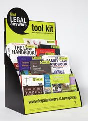 The Find Legal Answers tool kit is a collection of up to 20 plain language books to answer everyday questions about the law.  Subjects include: renting, wills and estates, family law, drink driving, facing a criminal charge in court, neighbours and the law, bankruptcy, debt and credit problems and consumer law.    The Find Legal Answers tool kit is available in all NSW public libraries. Selected titles are also available online.