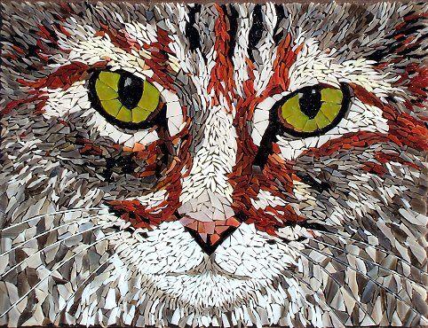 """""""Beans"""" cat mosaic by Susan Walden"""