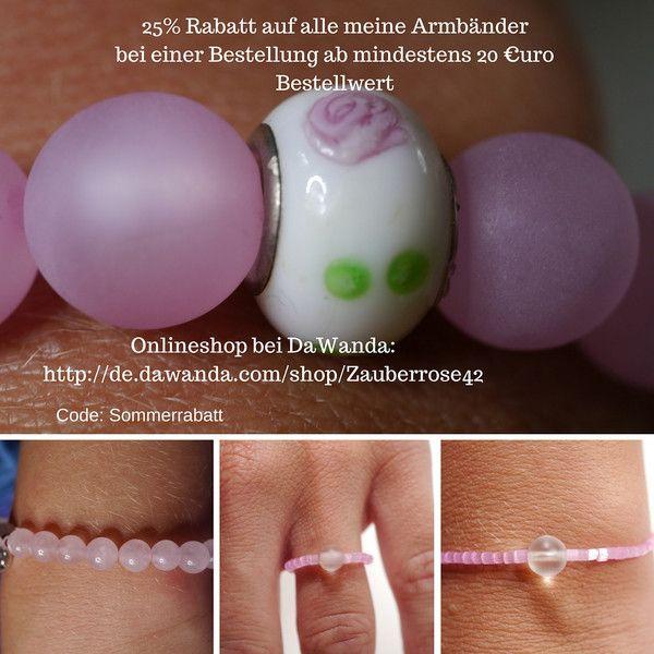 Armbänder - 25% Rabatt Aktion auf alle meine Artikel  - ein Designerstück von Zauberrose42 bei DaWanda
