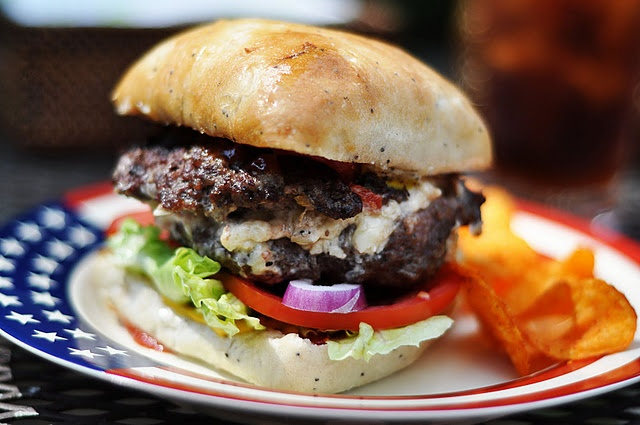 White Cheddar, Bacon, Pimiento Cheese-Stuffed Burgers