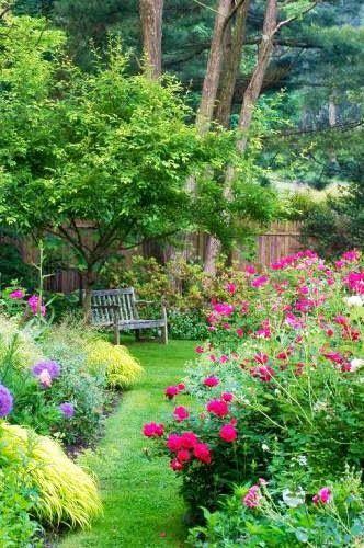 Pretty garden- I like the bench under the tree.