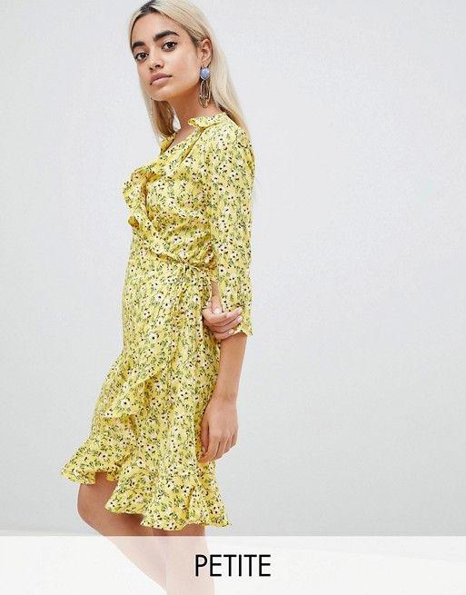 dee4eeff12cd Vero Moda Petite floral wrap mini dress in yellow