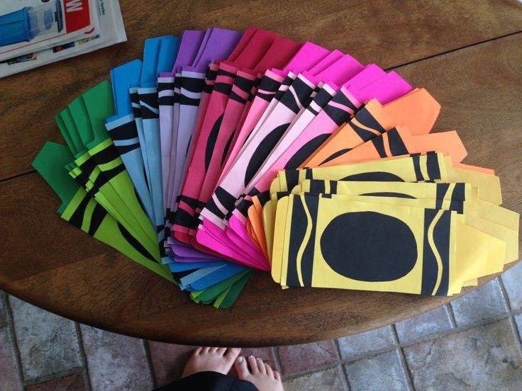 Crayon door decs :) names in glitter inside the black oval