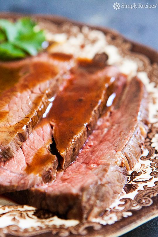 Classic roast beef recipe using rump roast, round roast, or sirloin tip.  This slow roasting method at low heat is good for tougher cuts of beef; the lower heat prevents any gristle from getting too tough. #paleo On SimplyRecipes.com