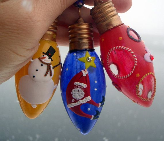 3 Recyled Light Bulb Christmas Ornaments with Santa by kissinglass,