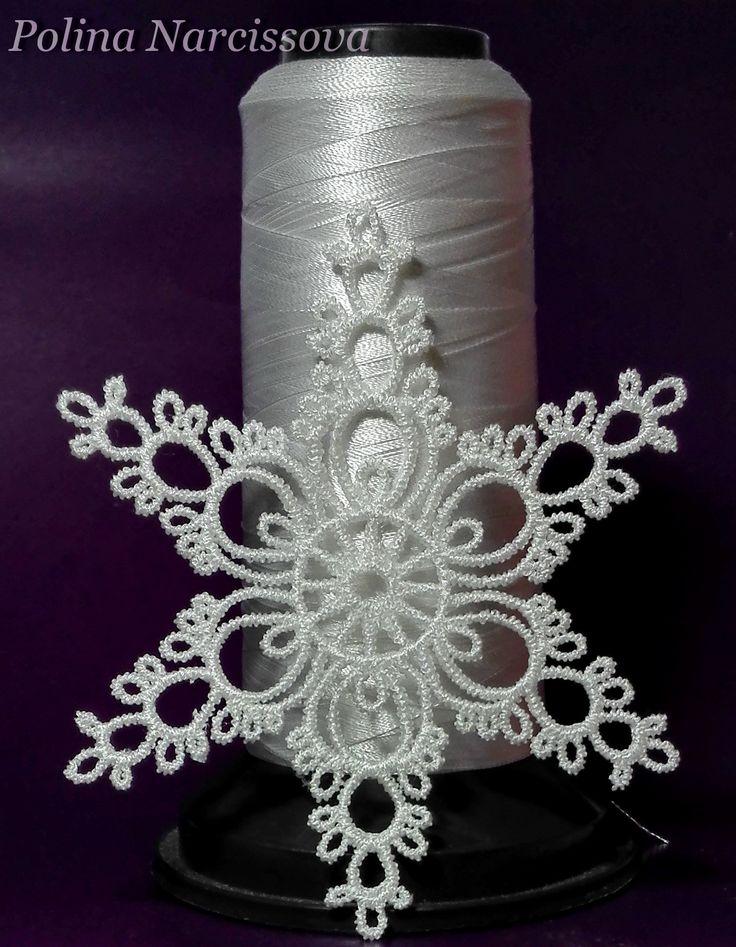 snowflake машинная вышивка, имитация кружева фриволите. дизайн вышивки Polina Narcissova