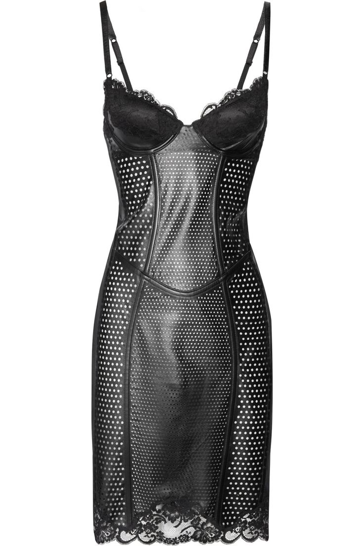Lace-trimmed perforated leather corset dress by La Perla