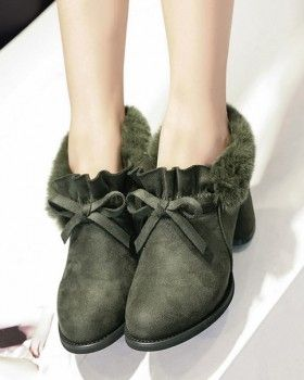 CW64609 Pointed thick women's boots broadcloth ankle boots