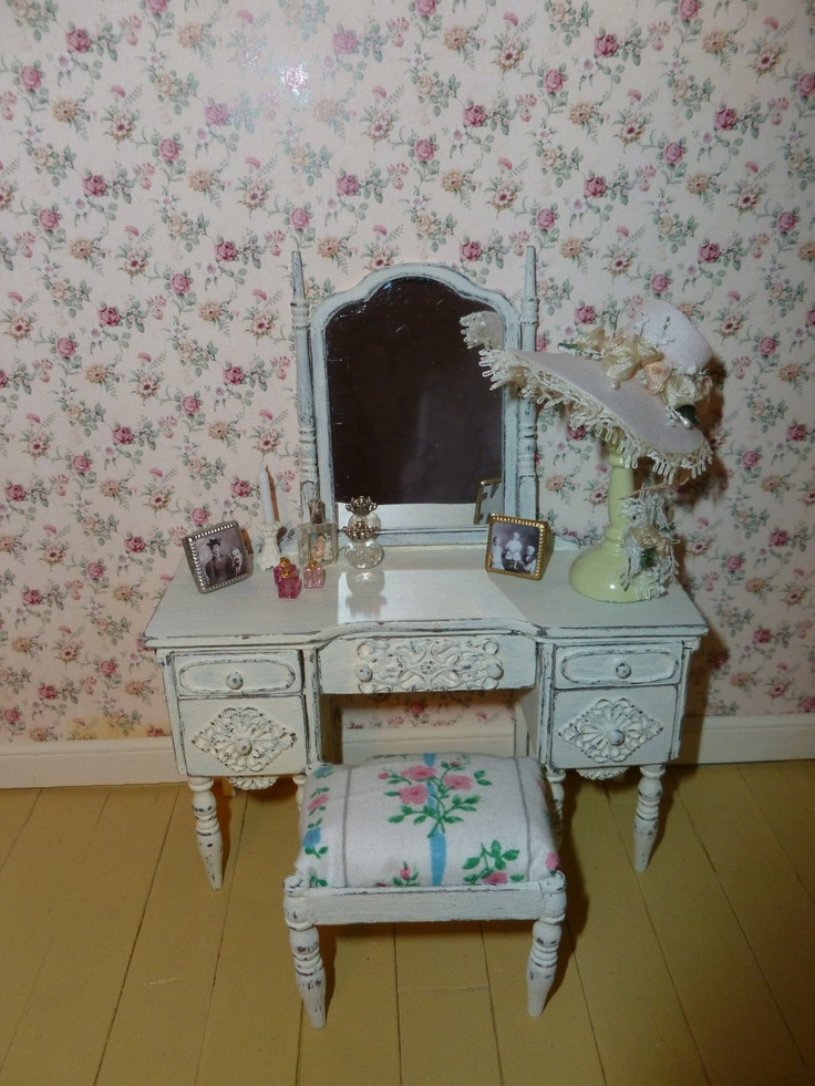 SPRING SPECIAL SALE Shabby Chic Vanity Dressing Table for Dollhouse