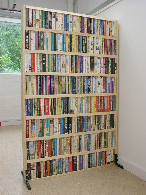 Great way to partition a room. I would pick books that either have the color of the room (light to dark) or the color spectrum (white to black).