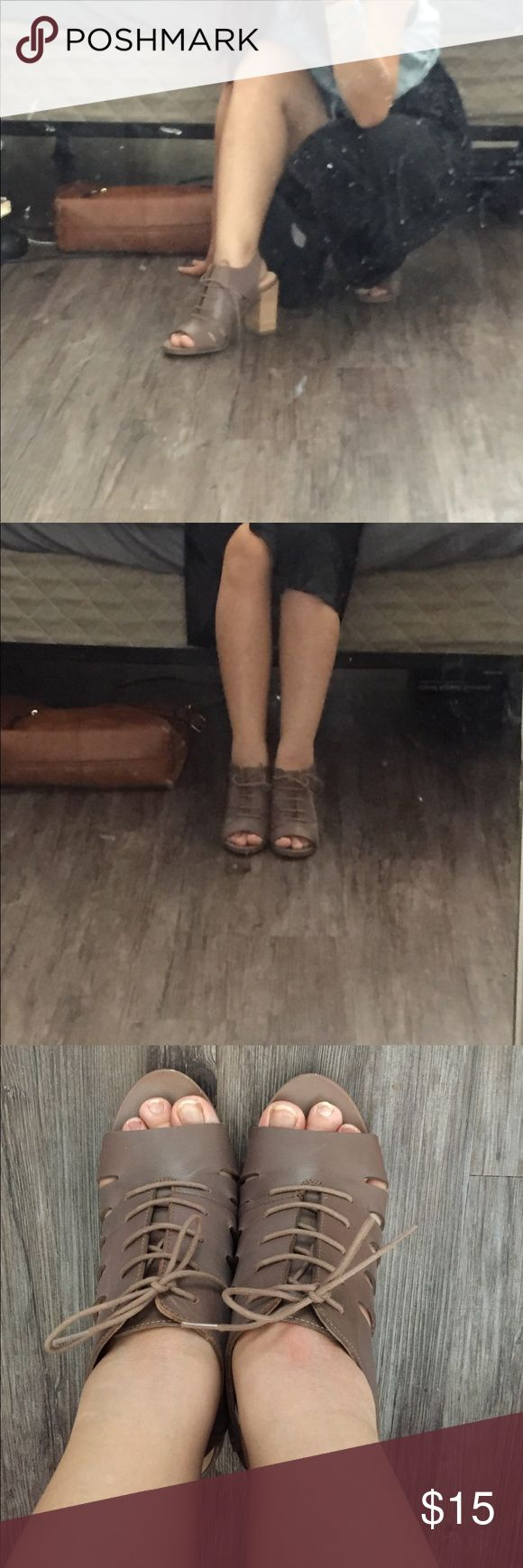 """Mark $ spencer lace up brown heels No defection, elastic strap so you can just slip on. 4"""" heels, open toe. Very sturdy, never wear before, just took of the tag. Bought it from retail store without box. Marks & Spencer Shoes Heels"""