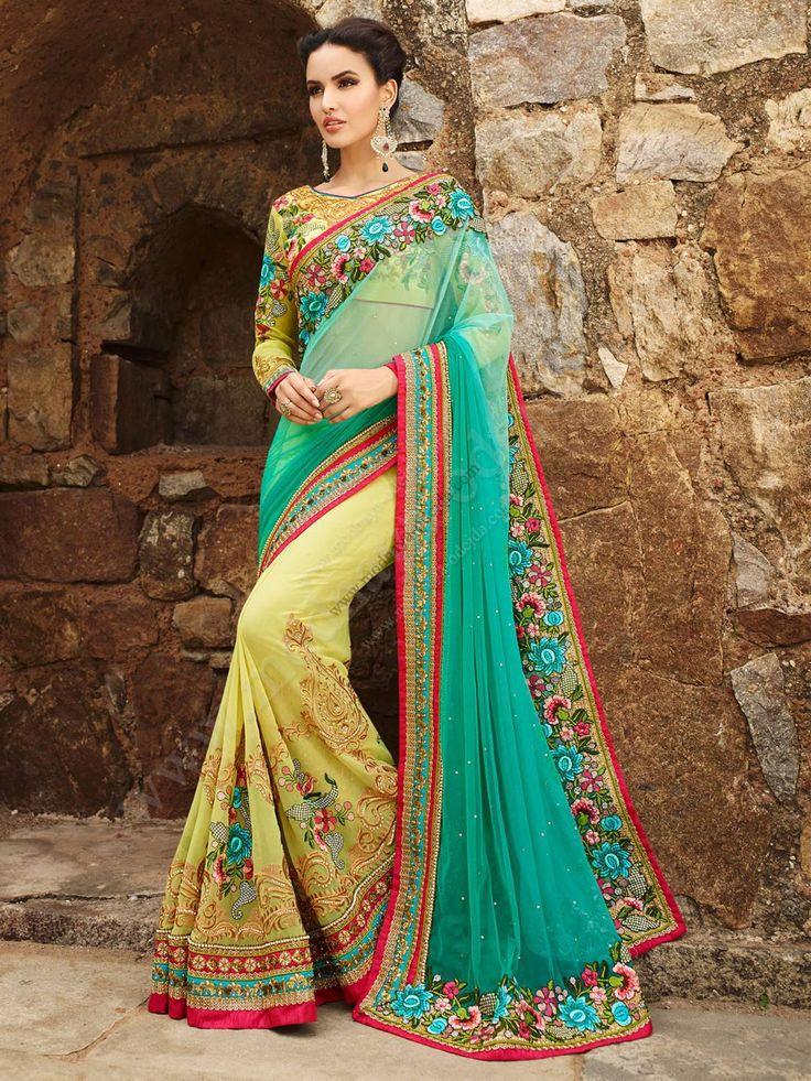 Двухцветное нарядное индийское сари