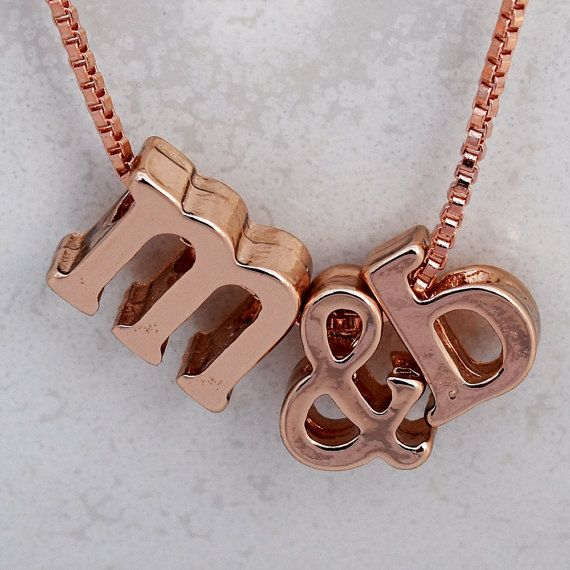 Rose Gold Necklace Initial Necklace Love Necklace by MYROSEGOLDS #initialnecklace #rosegoldnecklace #newlywedgift