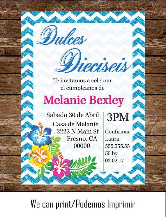 Invitacion Dulces Dieciseis Mar Azul Hawaiiana Flores 5x7