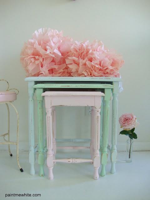 pastel colored furniture. tricolored nesting tables different i like it pastel colored furniture