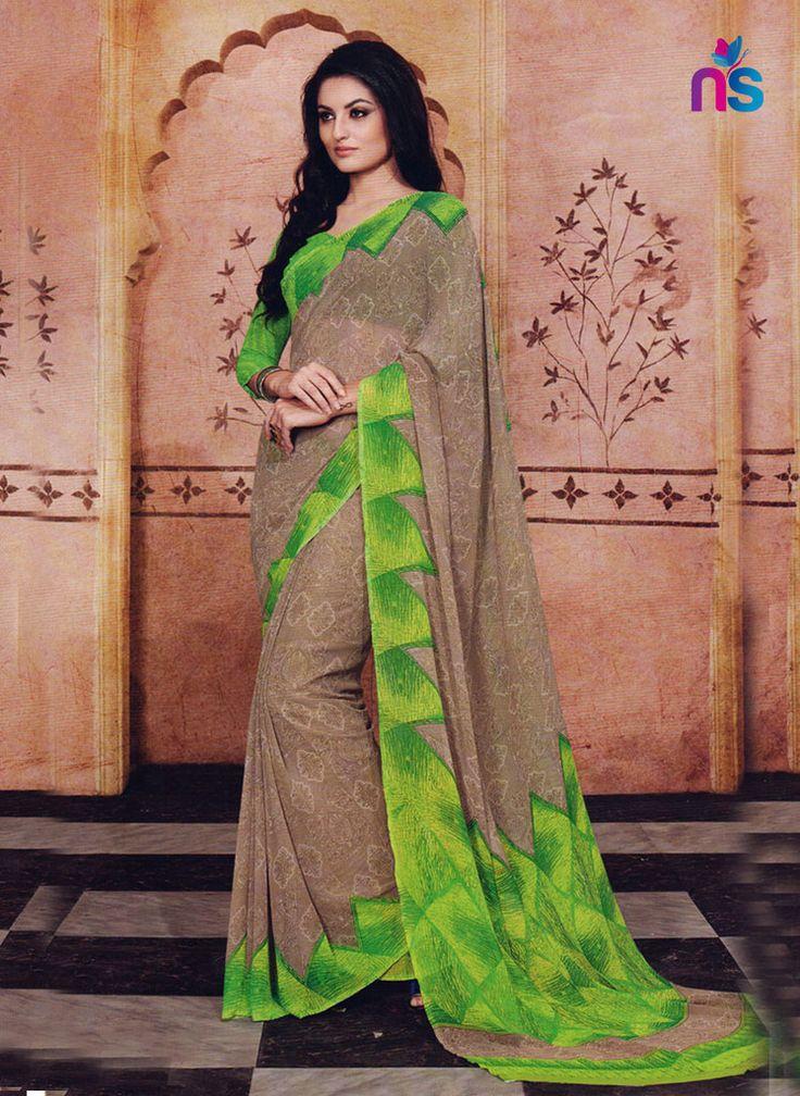 NS11214 SandBrown and ParrotGreen Daily Wear Printed Cotton Saree