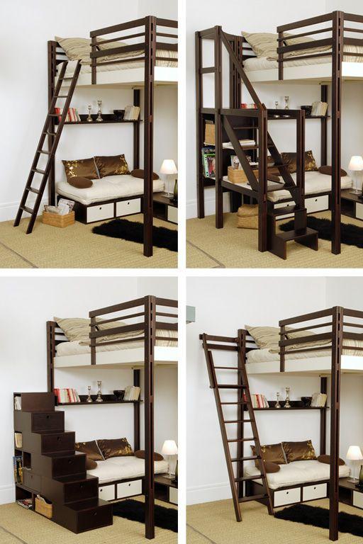 espace loggia lit mezzanine acces echelle escalier brick meuble contemporain design gain de