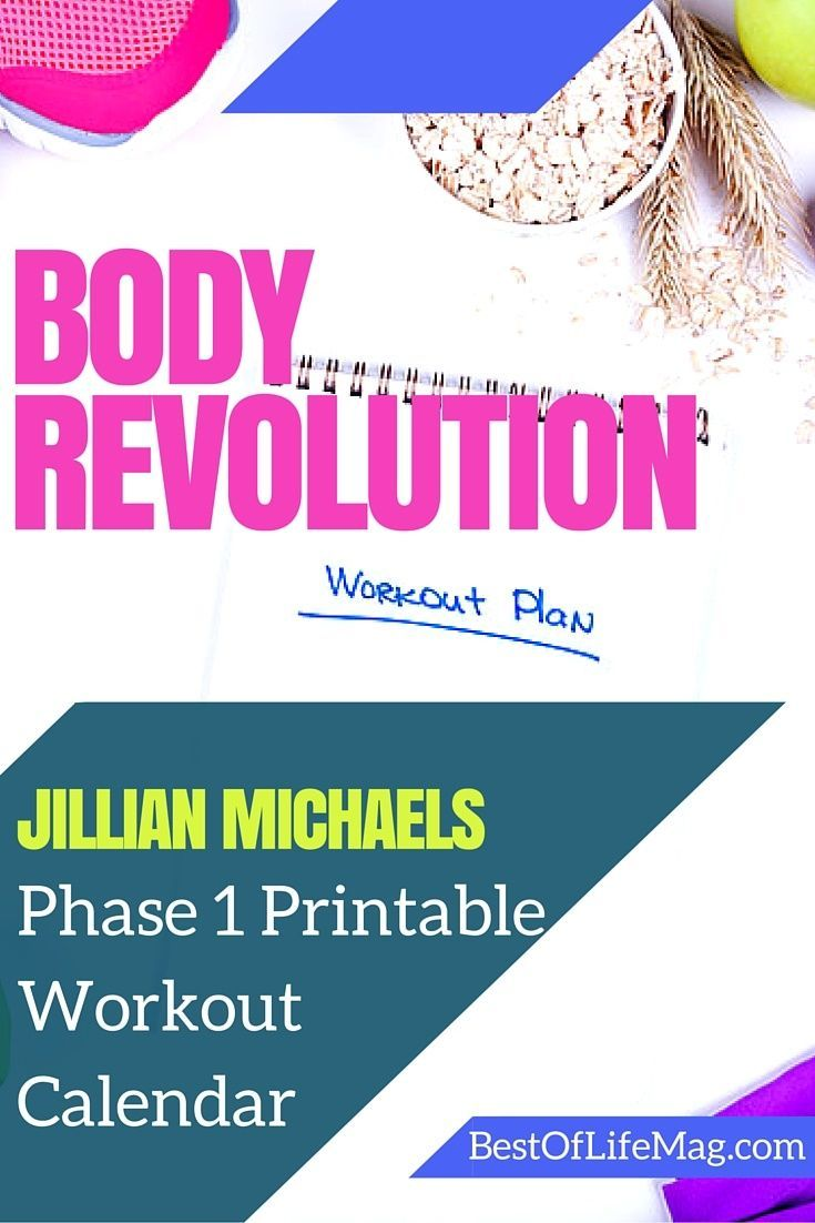 Jillian Michaels Body Revolution Printable Workout Checklist - Phase 1 ...