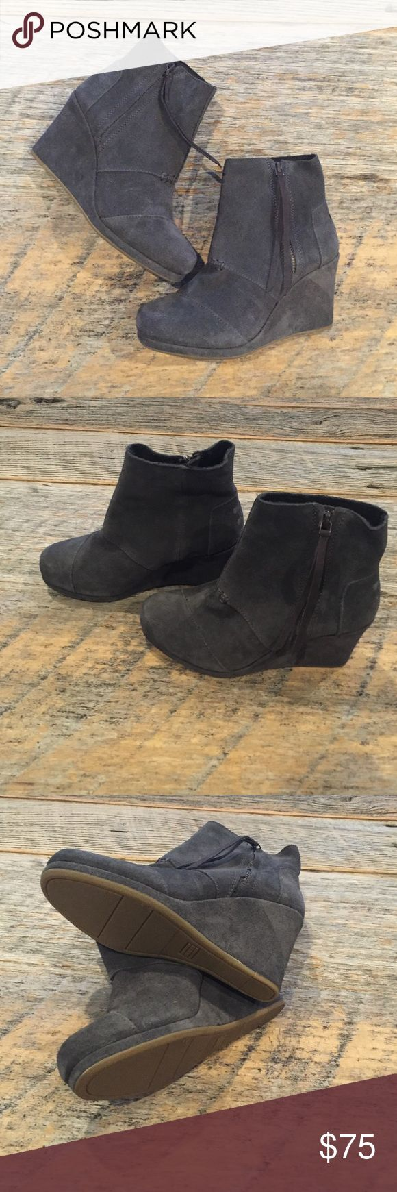 Toms Desert Wedge Gray Zip Booties EUC, like new. No box or trades. TOMS Shoes Ankle Boots & Booties