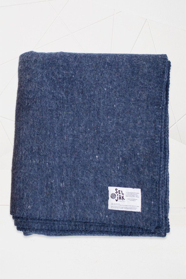 Seljak Colour Recycled Blanket - 152cm x 190cm - Indigo Whip Stitch – Koskela