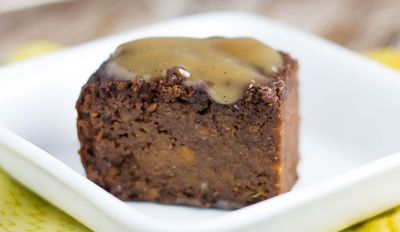 Chocolate Sweet Potato Brownies With Caramel Sauce