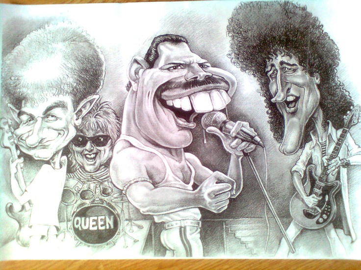 My friend has drawn this funny picture of Queen. Brian May is on the right side! Watch his guitar riffs and guitar lessons on http://www.guitartabmaker.com/ you will also find some useful tabs.