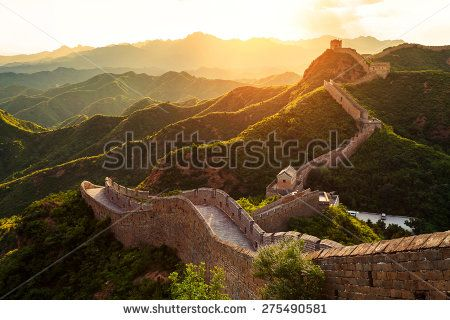 Great wall under sunshine during sunset - stock photo