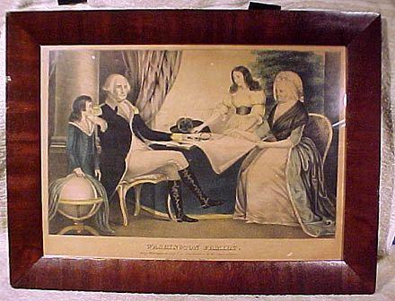Antique Currier George Washington Family S. Folio Framed