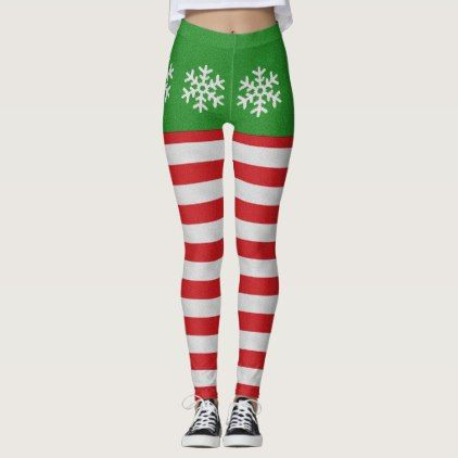 Red And White Candy Cane Snowflake Leggings - red gifts color style cyo diy personalize unique