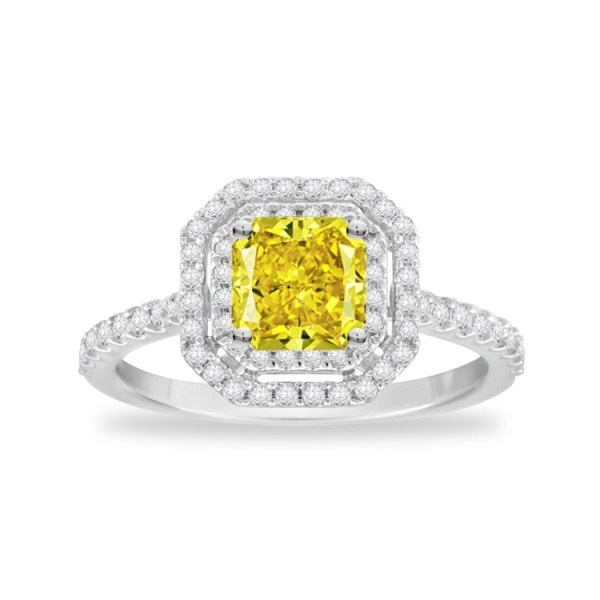 Gemesis Double Halo Fancy Radiant #Diamond #Ring. Setting Price: $1,147.50.
