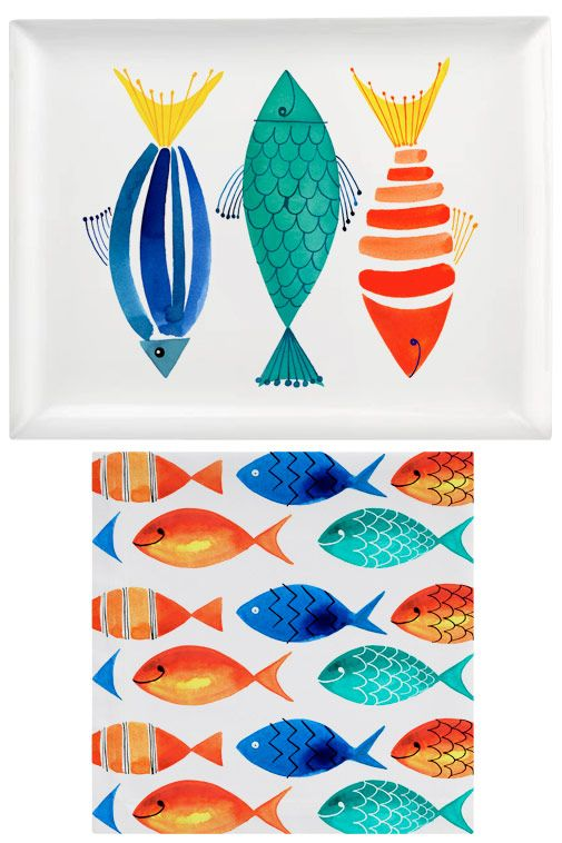 Margaret Berg Art: Summer+Fish+Trio+Platter+and+Napkins
