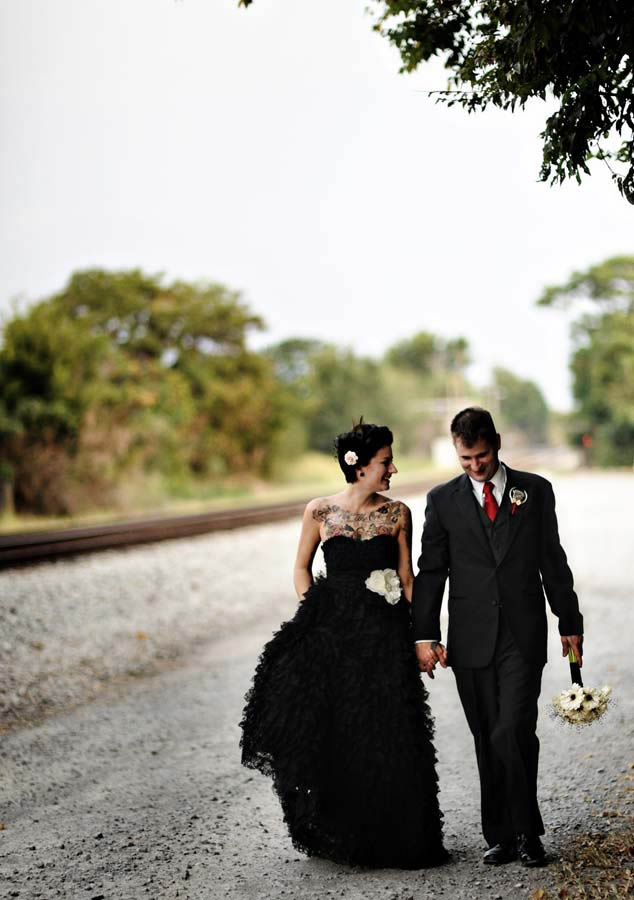 Black wedding dress.