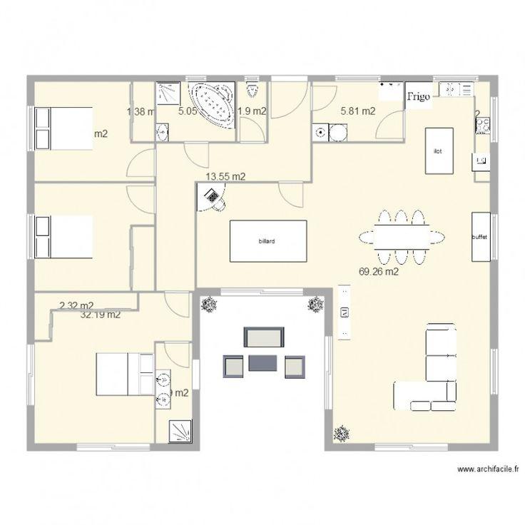 46 best Plan images on Pinterest Bedrooms, House blueprints and - plan petite maison 70 m2