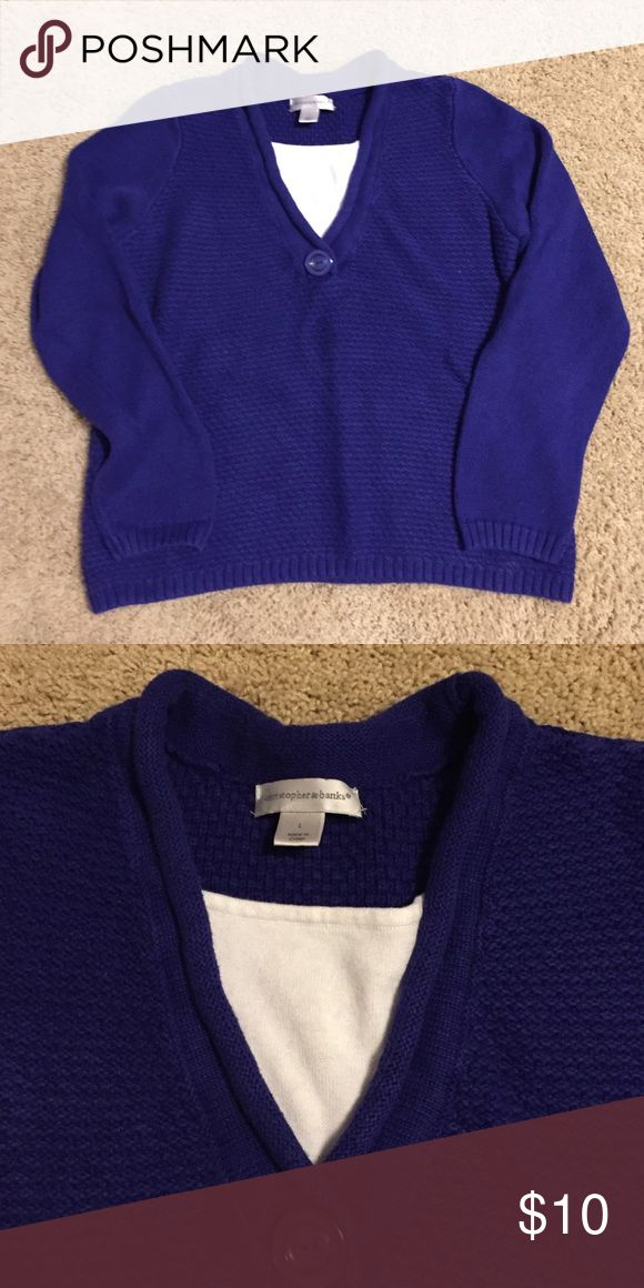 Royal Blue Sweater Royal blue sweater with one button Christopher & Banks Sweaters