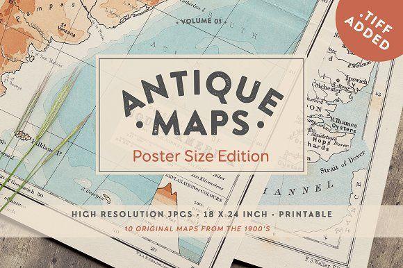 Antique Maps 18x24in - Vol.01 by Greta Ivy on @creativemarket