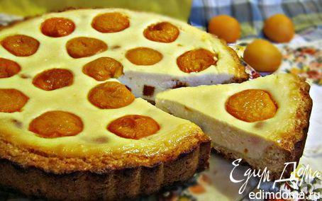 """Творожный пирог с абрикосами """"Глазунья""""   Кулинарные рецепты от «Едим дома!»"""