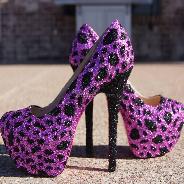 Glaring Sky-high Purple Leopard Stiletto Heels From the Plus Size Fashion Community at www.VintageandCurvy.com