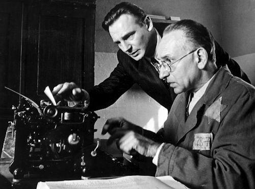 """Liam Neeson as Oskar Schindler & Ben Kingsley as Itzhak Stern in """"Schindler's List"""""""