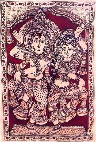 Indian Painting Styles...Kalamkari Paintings (Andhra Pradesh)-shivparvti1-3-.jpg