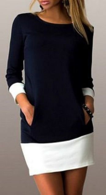 Casual Color Block Scoop Neck Long Sleeve Mini Dress For Women