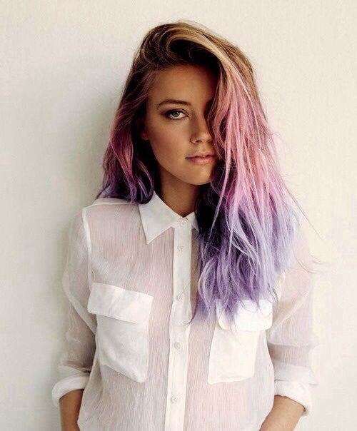 lavender dip dye hair on brown hair - Google Search